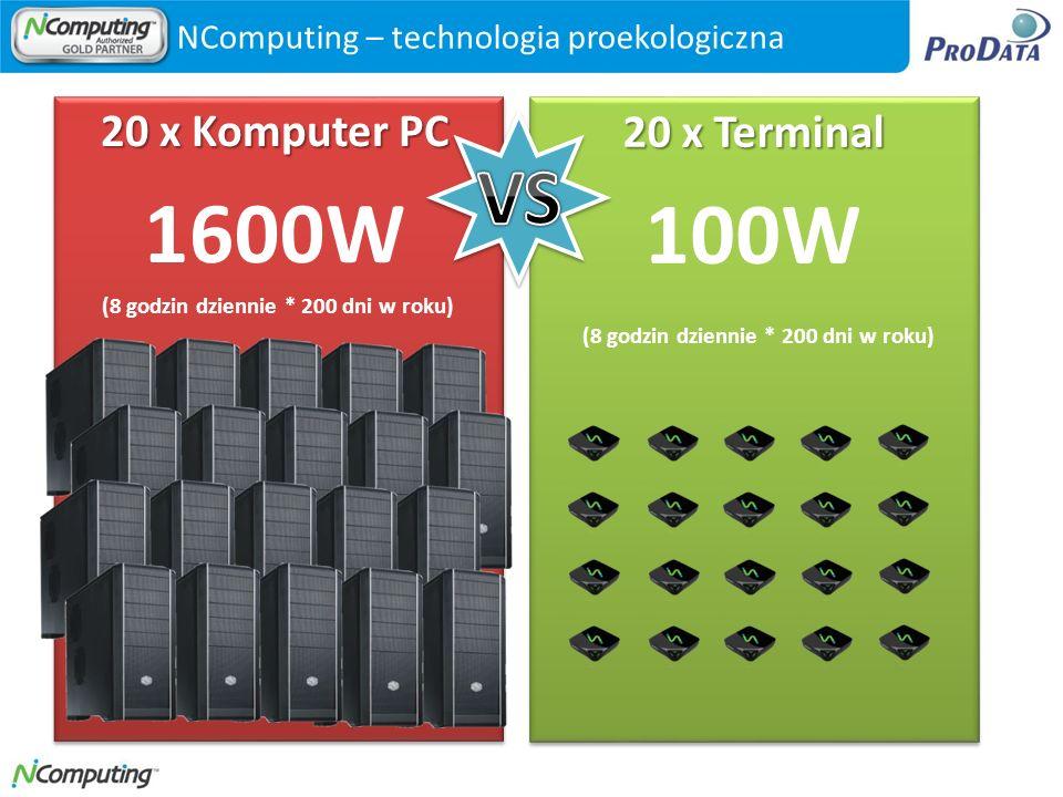 1600W 100W VS 20 x Komputer PC 20 x Terminal