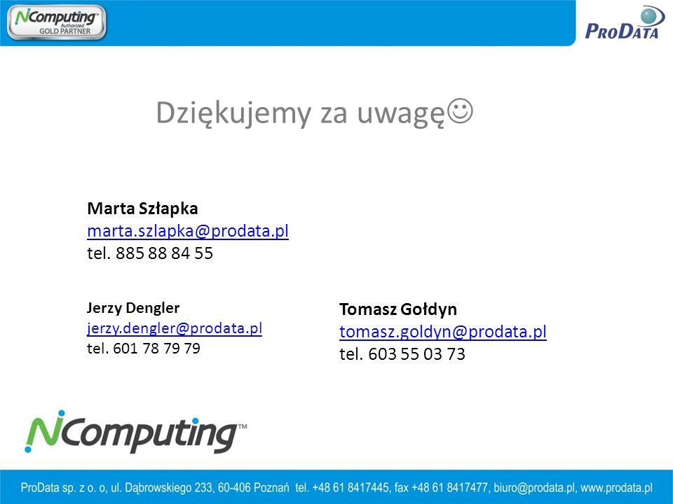 Dziękujemy za uwagę Marta Szłapka marta.szlapka@prodata.pl