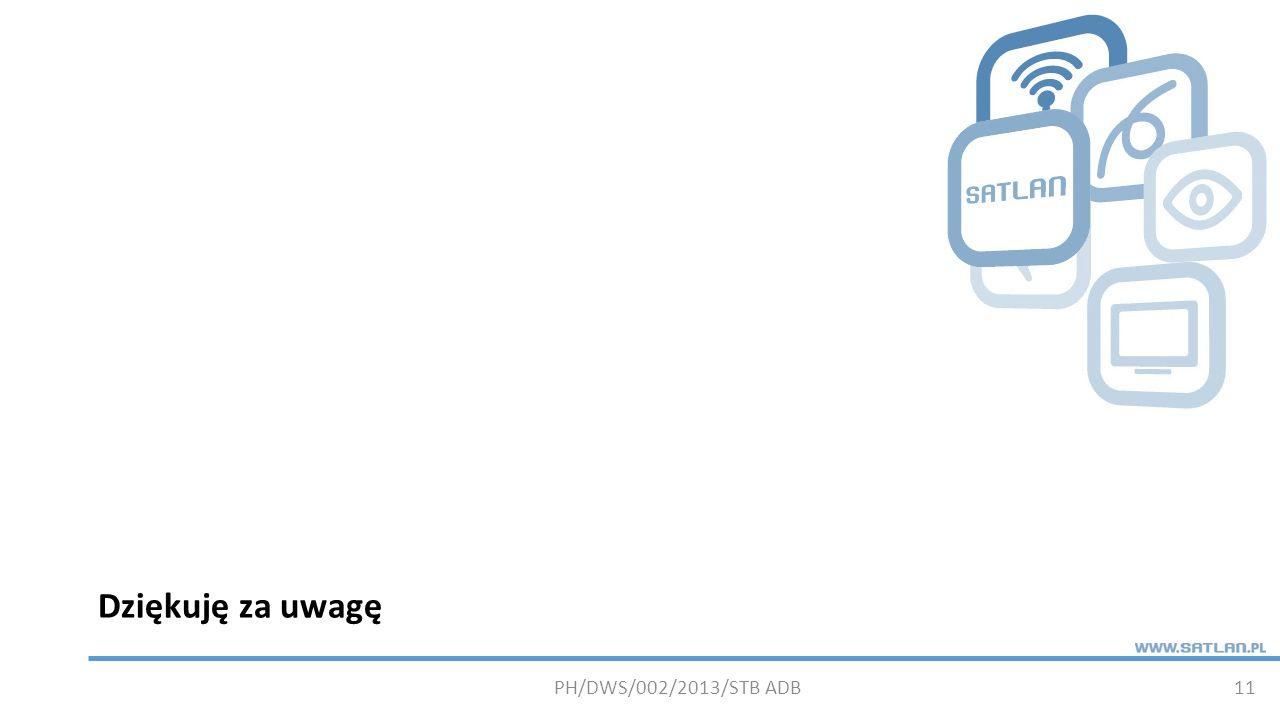 Dziękuję za uwagę PH/DWS/002/2013/STB ADB