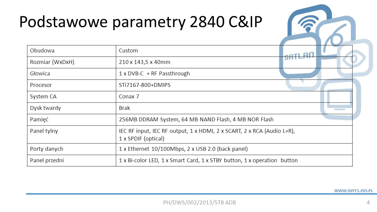 Podstawowe parametry 2840 C&IP