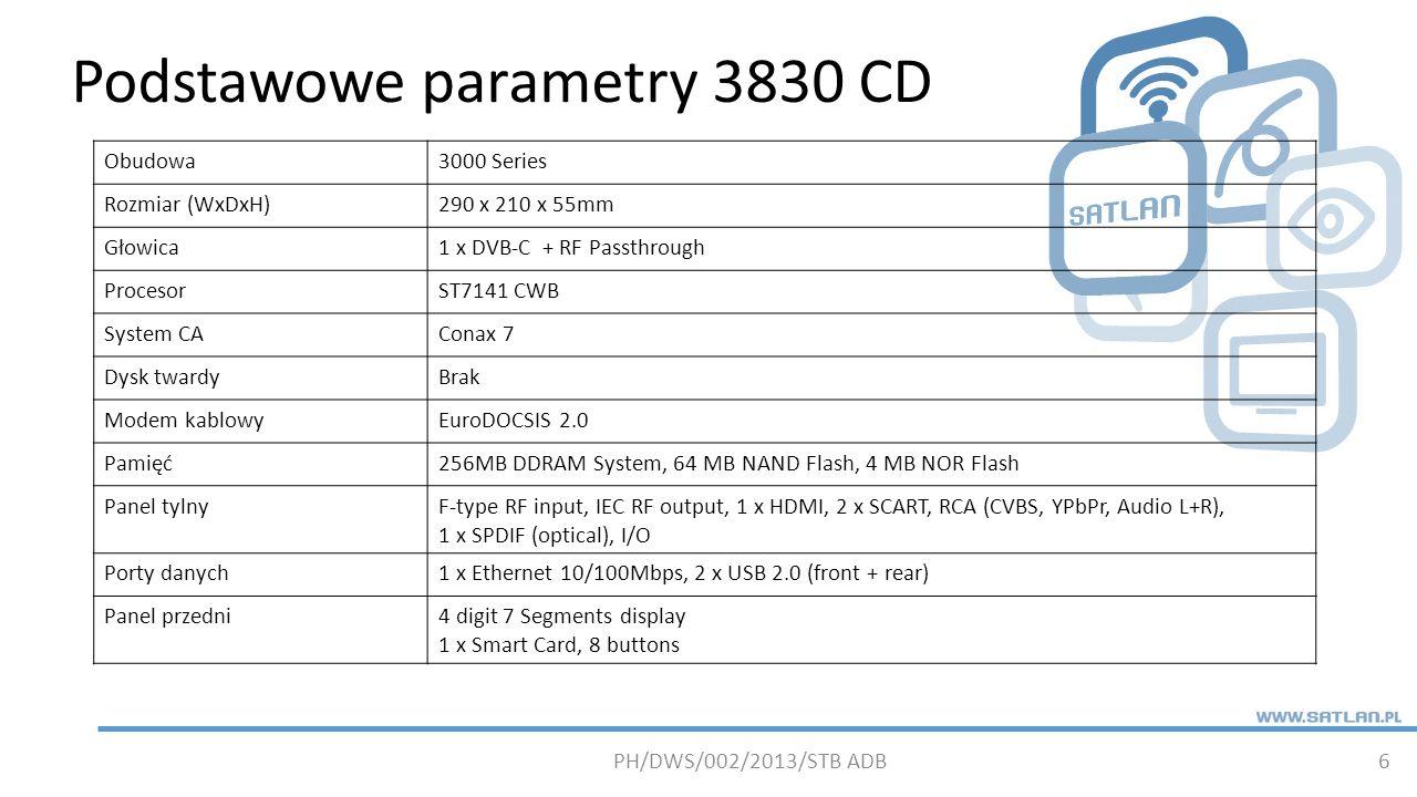 Podstawowe parametry 3830 CD