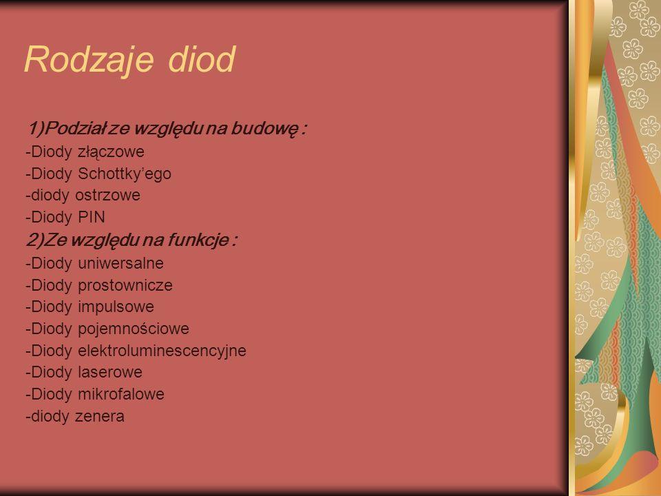 Rodzaje diod 1)Podział ze względu na budowę :