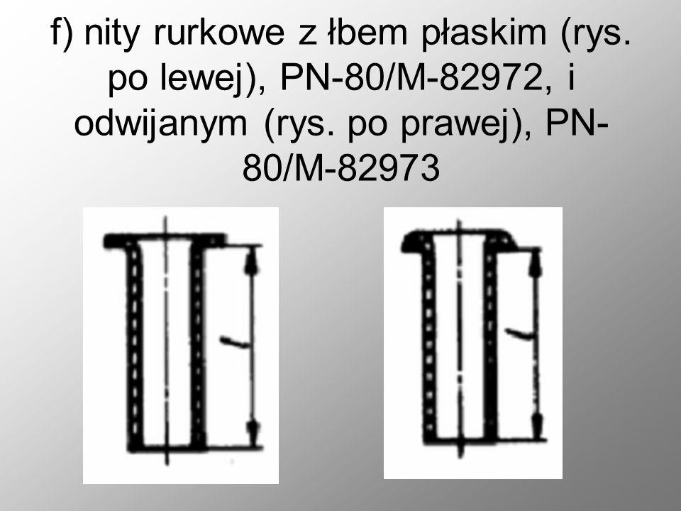 f) nity rurkowe z łbem płaskim (rys