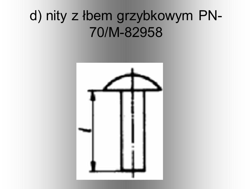 d) nity z łbem grzybkowym PN-70/M-82958
