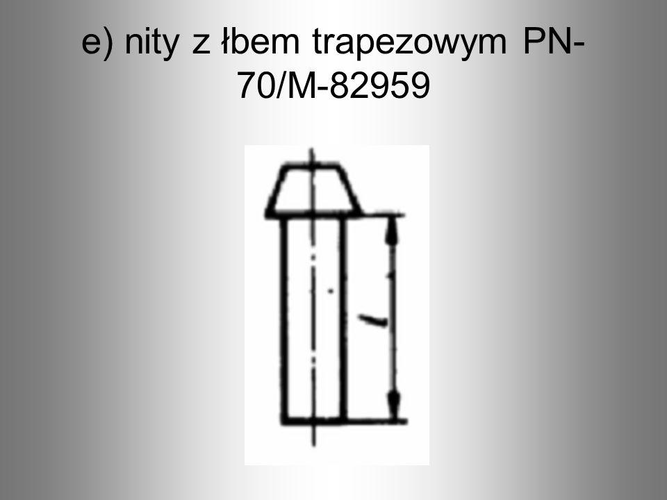 e) nity z łbem trapezowym PN-70/M-82959