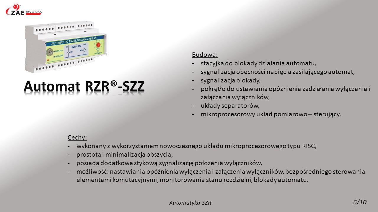 Automat RZR®-SZZ Budowa: stacyjka do blokady działania automatu,
