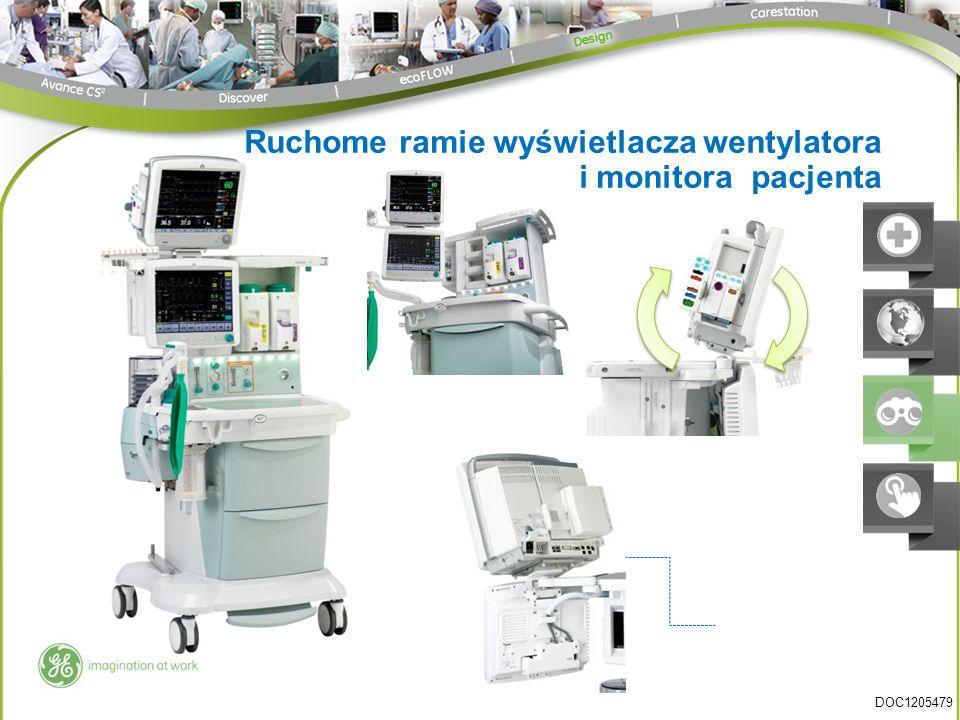 Ruchome ramie wyświetlacza wentylatora i monitora pacjenta