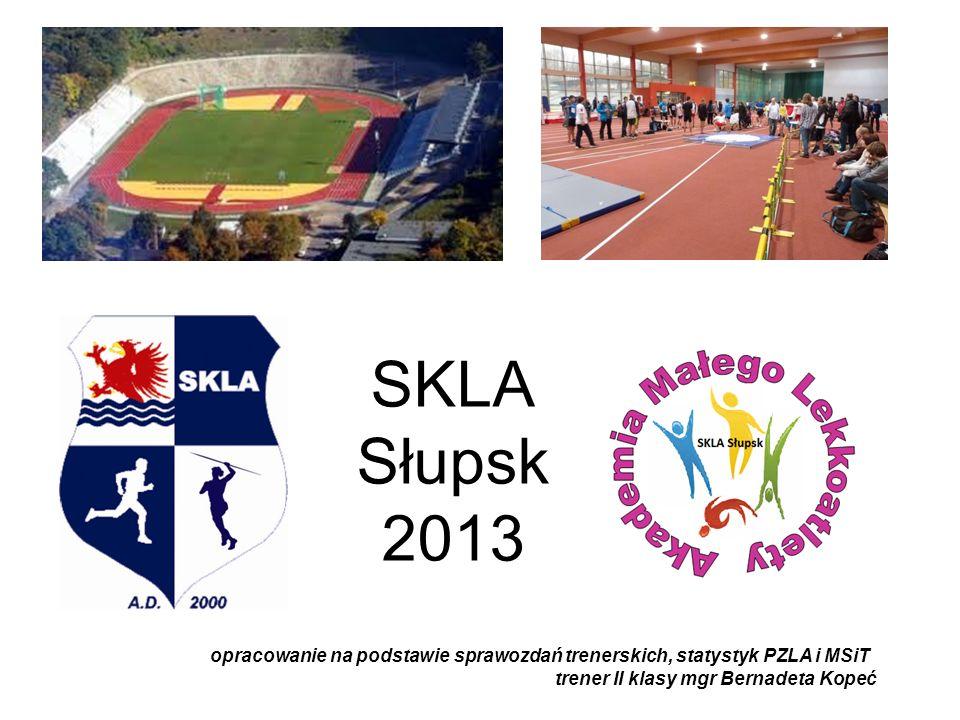 SKLA Słupsk 2013 opracowanie na podstawie sprawozdań trenerskich, statystyk PZLA i MSiT.