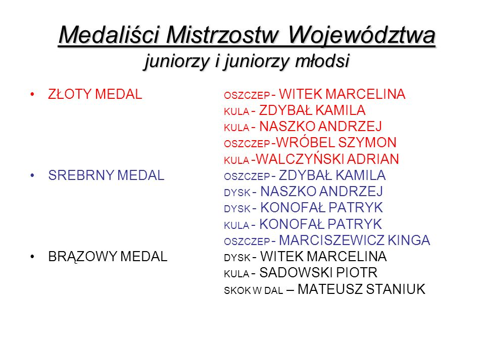 Medaliści Mistrzostw Województwa juniorzy i juniorzy młodsi