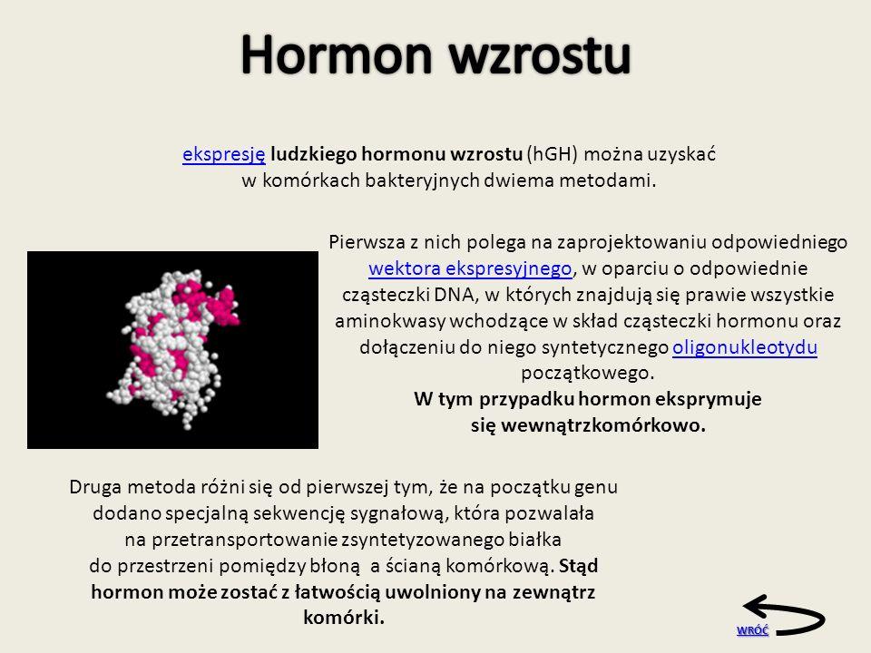 W tym przypadku hormon eksprymuje się wewnątrzkomórkowo.
