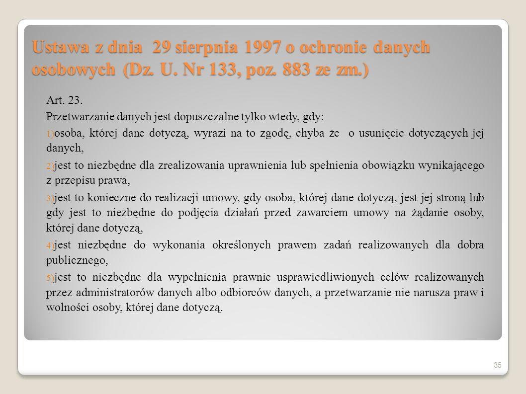 Ustawa z dnia 29 sierpnia 1997 o ochronie danych osobowych (Dz. U