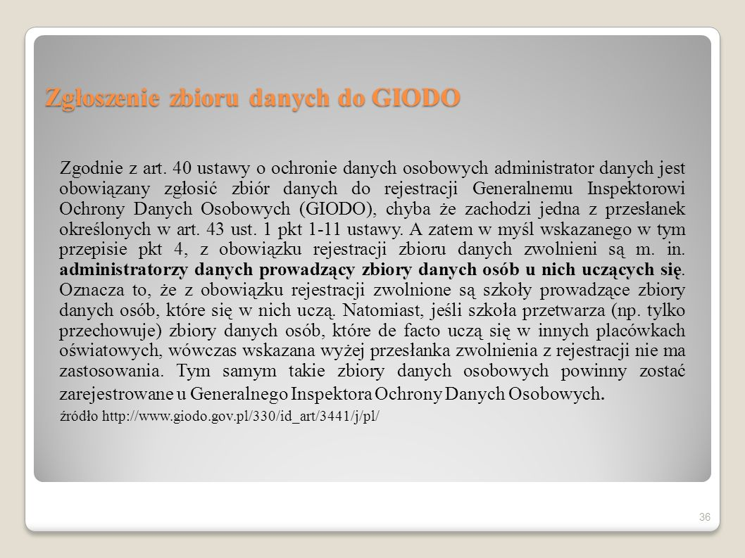 Zgłoszenie zbioru danych do GIODO