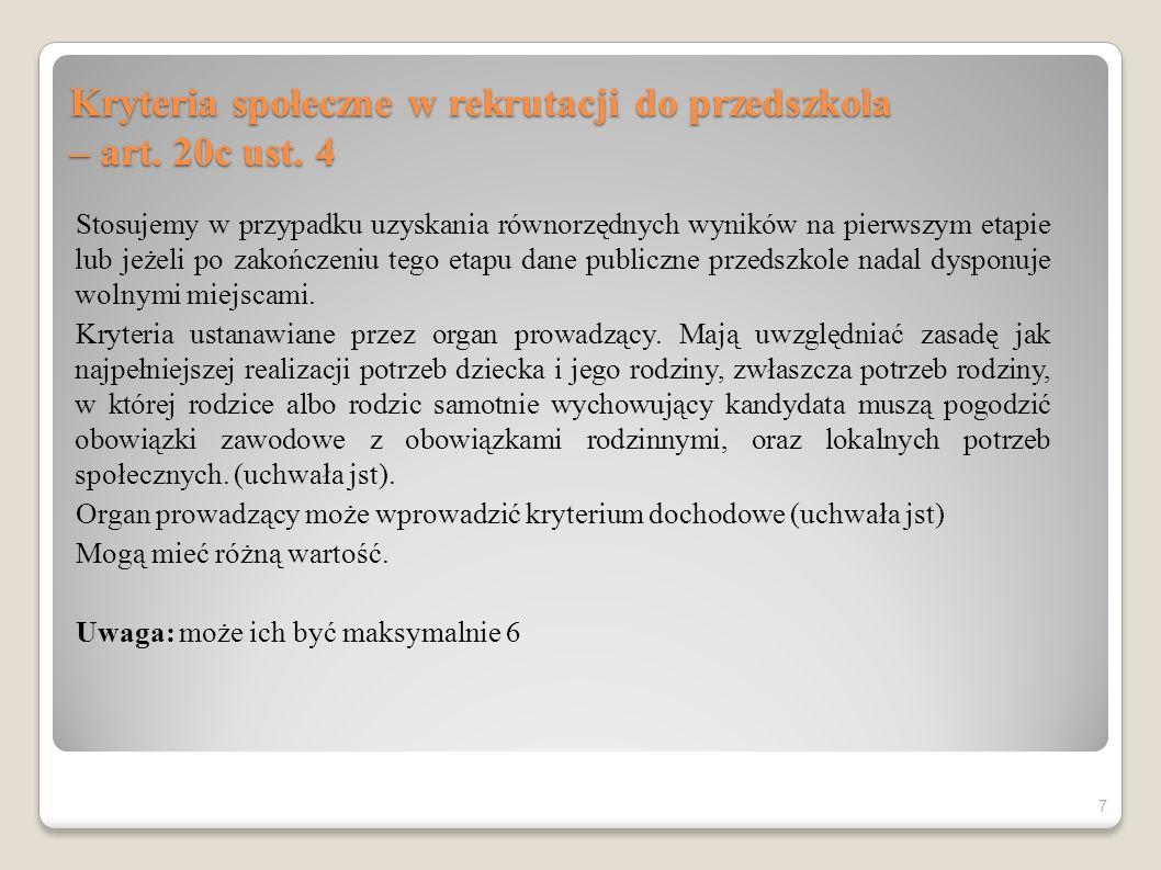 Kryteria społeczne w rekrutacji do przedszkola – art. 20c ust. 4