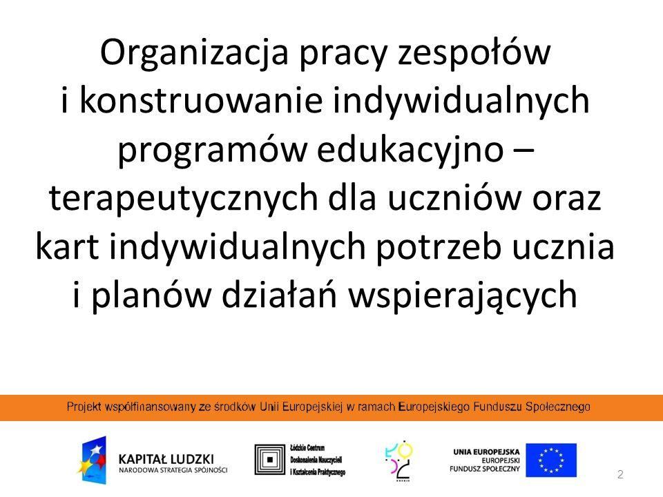 Organizacja pracy zespołów i konstruowanie indywidualnych programów edukacyjno – terapeutycznych dla uczniów oraz kart indywidualnych potrzeb ucznia i planów działań wspierających