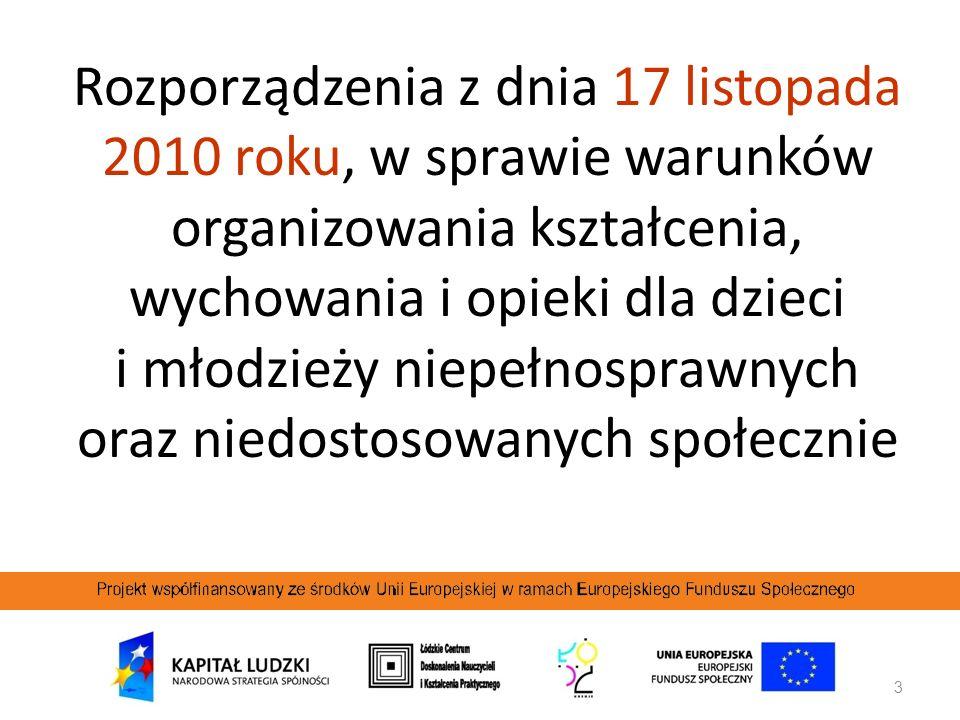 Rozporządzenia z dnia 17 listopada 2010 roku, w sprawie warunków organizowania kształcenia, wychowania i opieki dla dzieci i młodzieży niepełnosprawnych oraz niedostosowanych społecznie