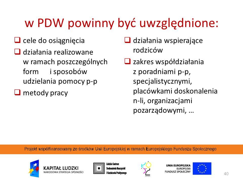 w PDW powinny być uwzględnione: