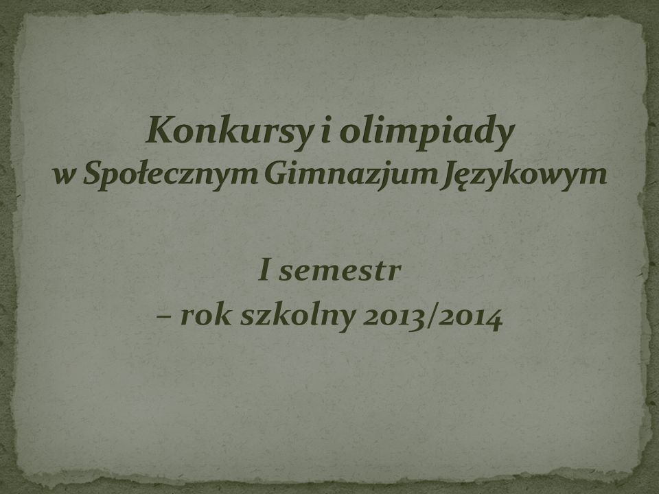 Konkursy i olimpiady w Społecznym Gimnazjum Językowym