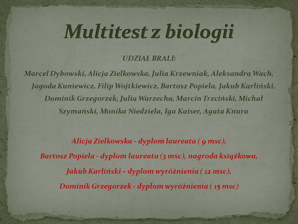 Multitest z biologii