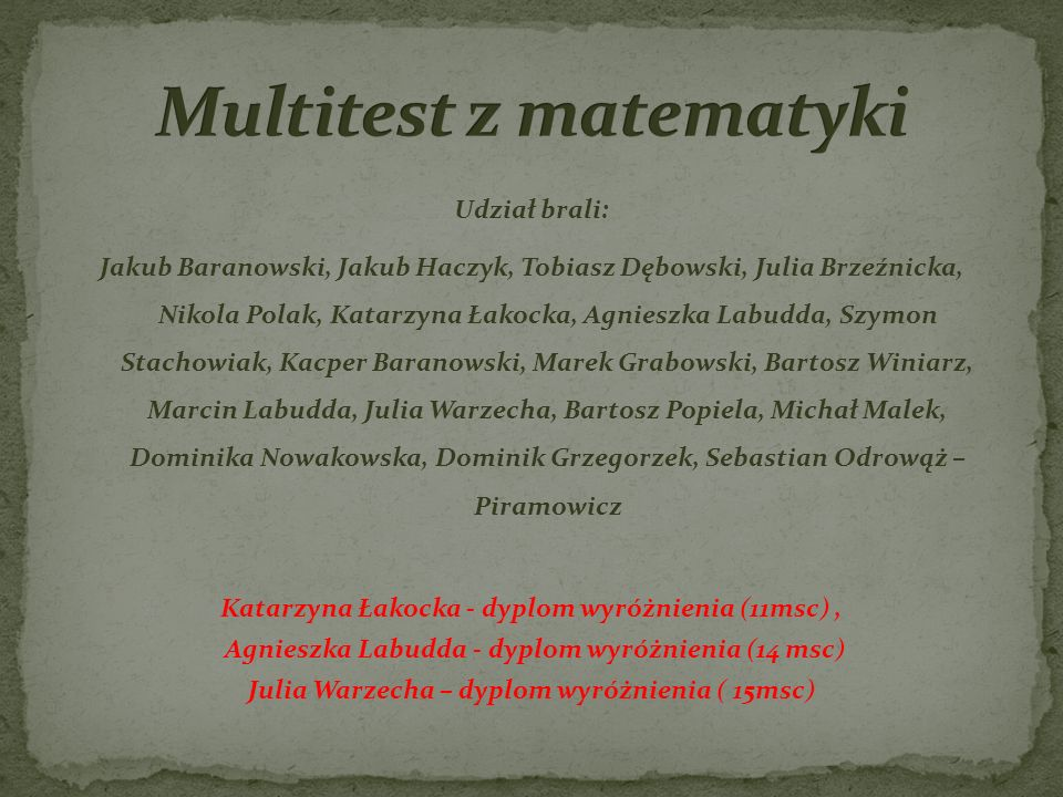 Multitest z matematyki