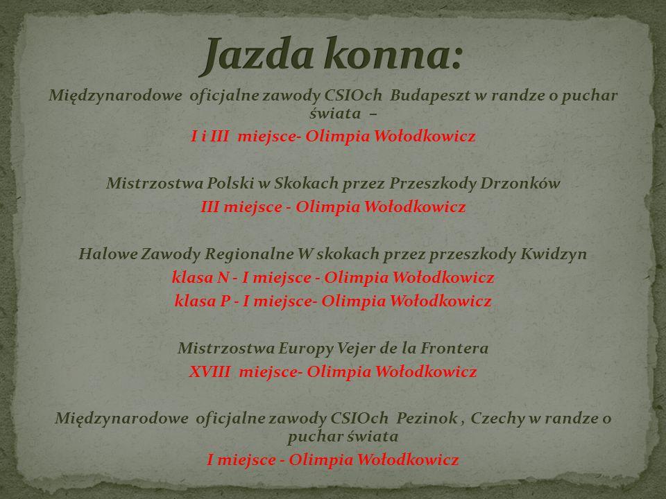 Jazda konna: Międzynarodowe oficjalne zawody CSIOch Budapeszt w randze o puchar świata – I i III miejsce- Olimpia Wołodkowicz.