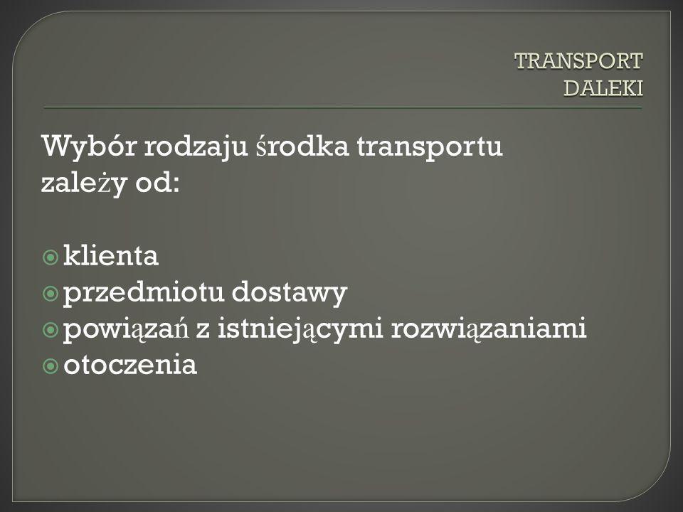 Wybór rodzaju środka transportu zależy od: klienta przedmiotu dostawy