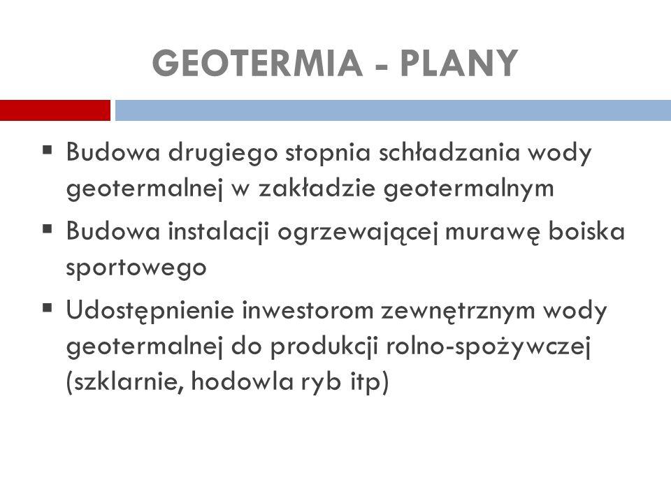 GEOTERMIA - PLANY Budowa drugiego stopnia schładzania wody geotermalnej w zakładzie geotermalnym.