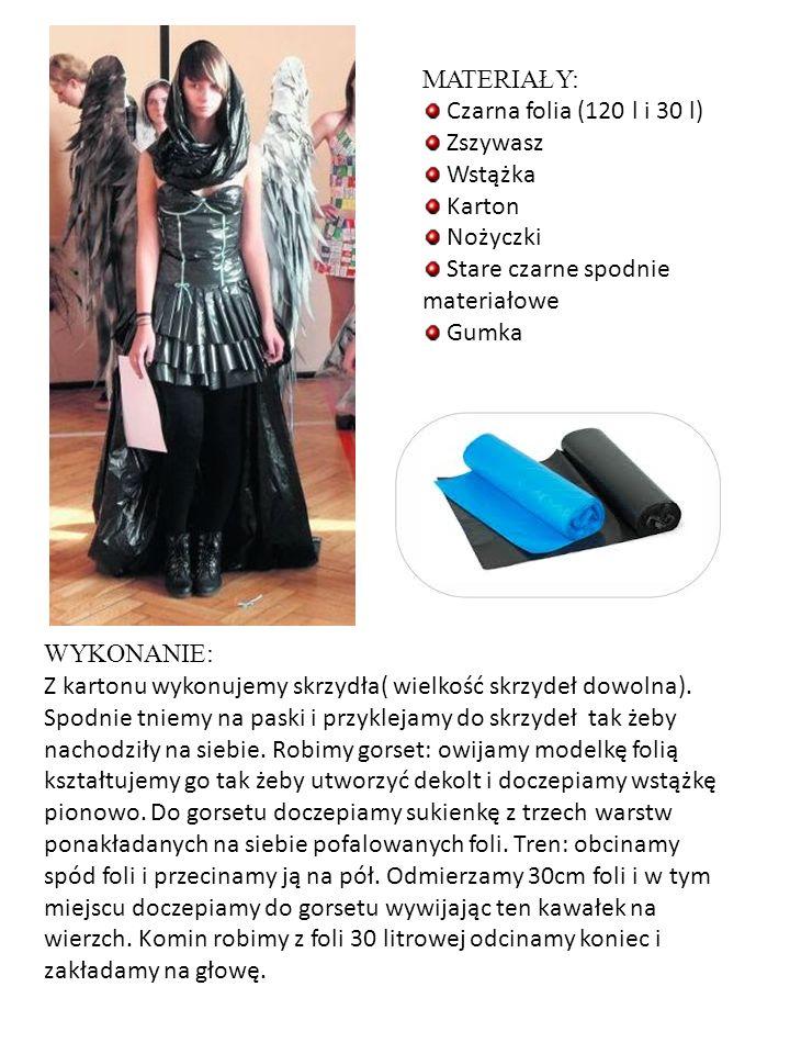 MATERIAŁY: Czarna folia (120 l i 30 l) Zszywasz. Wstążka. Karton. Nożyczki. Stare czarne spodnie materiałowe.