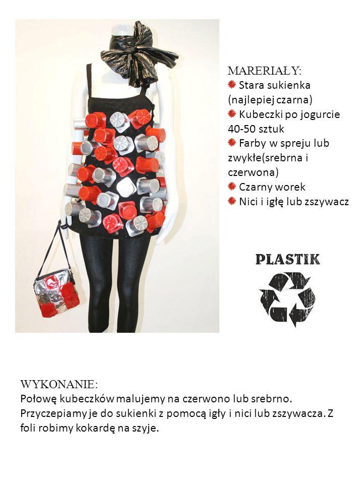 MARERIAŁY: Stara sukienka (najlepiej czarna) Kubeczki po jogurcie 40-50 sztuk. Farby w spreju lub zwykłe(srebrna i czerwona)