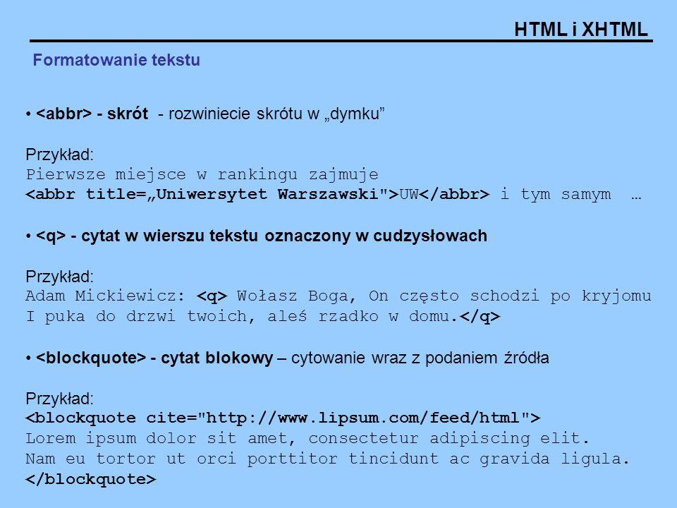 """Formatowanie tekstu <abbr> - skrót - rozwiniecie skrótu w """"dymku Przykład:"""
