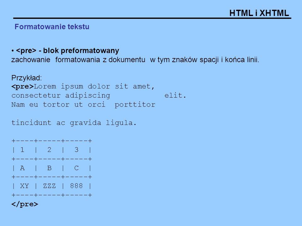 Formatowanie tekstu <pre> - blok preformatowany zachowanie formatowania z dokumentu w tym znaków spacji i końca linii.