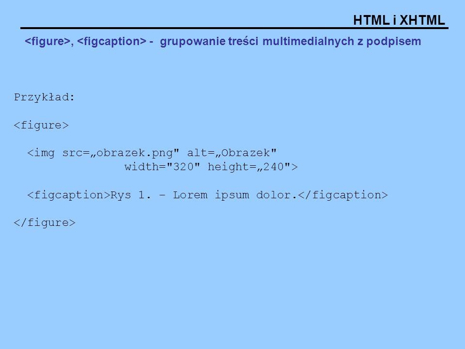 <figure>, <figcaption> - grupowanie treści multimedialnych z podpisem