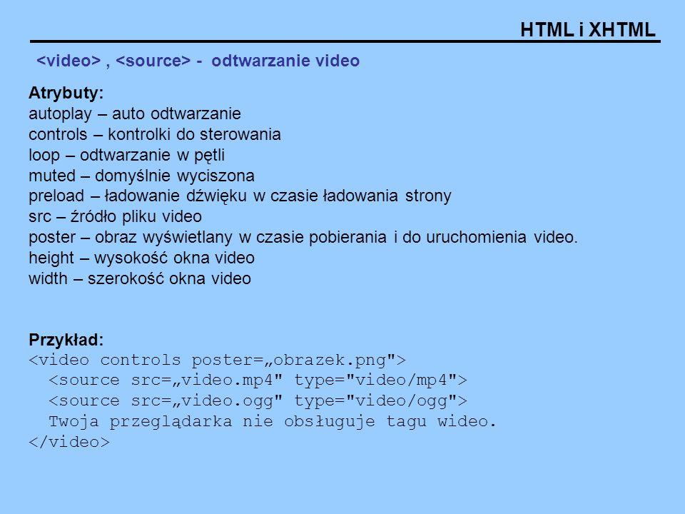 <video> , <source> - odtwarzanie video