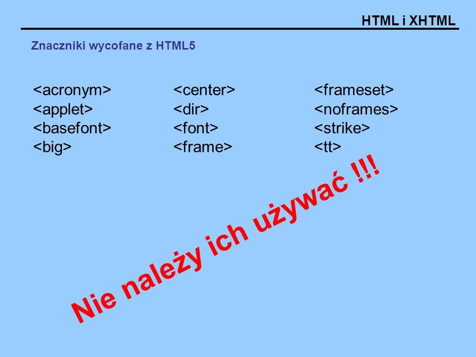 Znaczniki wycofane z HTML5