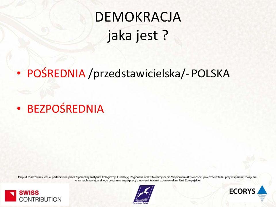 DEMOKRACJA jaka jest POŚREDNIA /przedstawicielska/- POLSKA