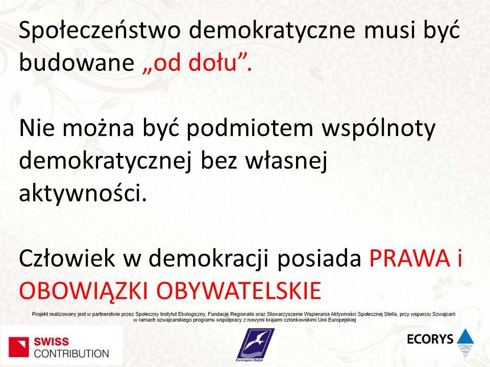 """Społeczeństwo demokratyczne musi być budowane """"od dołu ."""