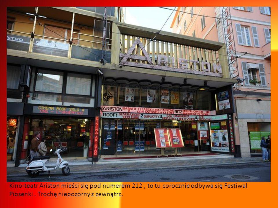 Kino-teatr Ariston mieści się pod numerem 212 , to tu corocznie odbywa się Festiwal Piosenki .