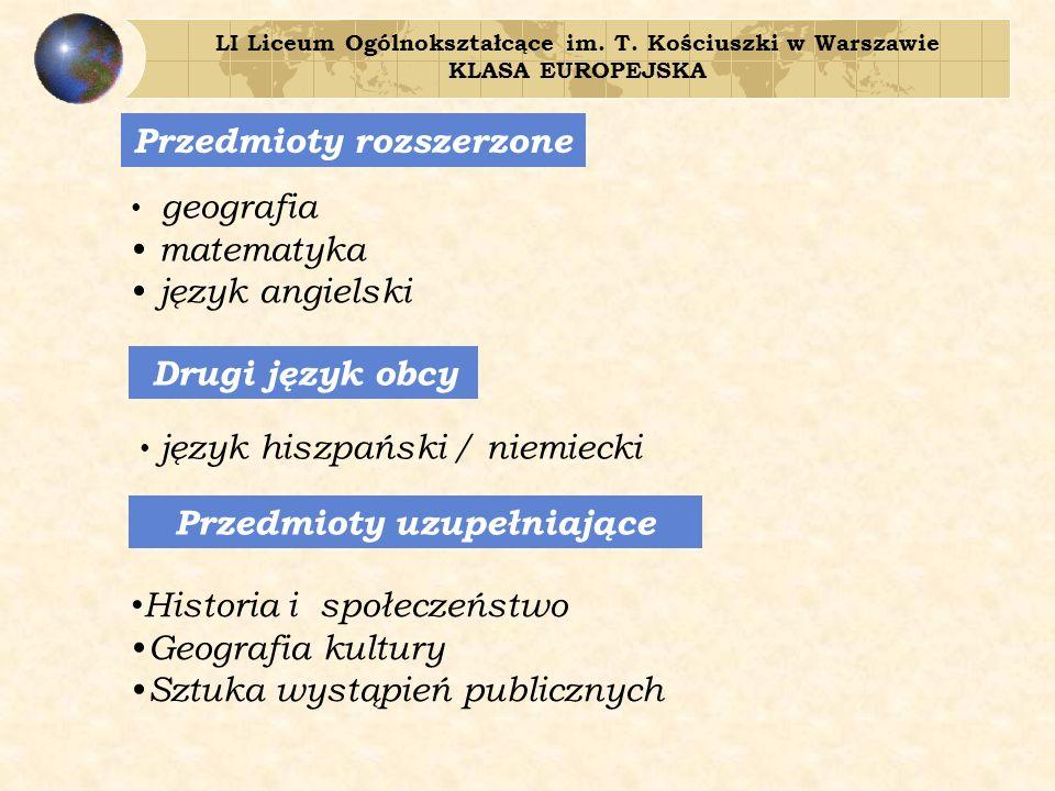 Przedmioty rozszerzone Drugi język obcy Przedmioty uzupełniające