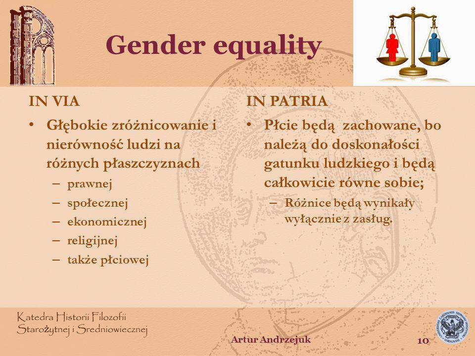 Gender equality IN VIA IN PATRIA