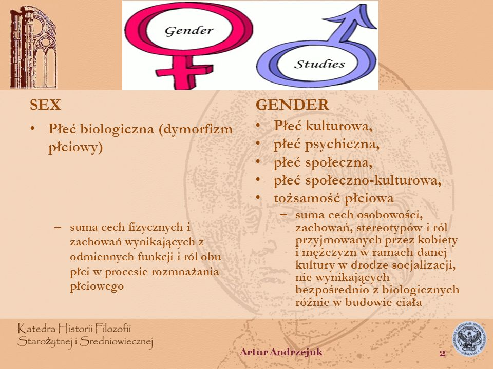 SEX GENDER Płeć biologiczna (dymorfizm płciowy) Płeć kulturowa,