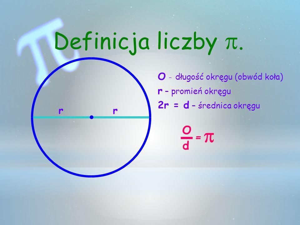 Definicja liczby p. = p O d O – długość okręgu (obwód koła)