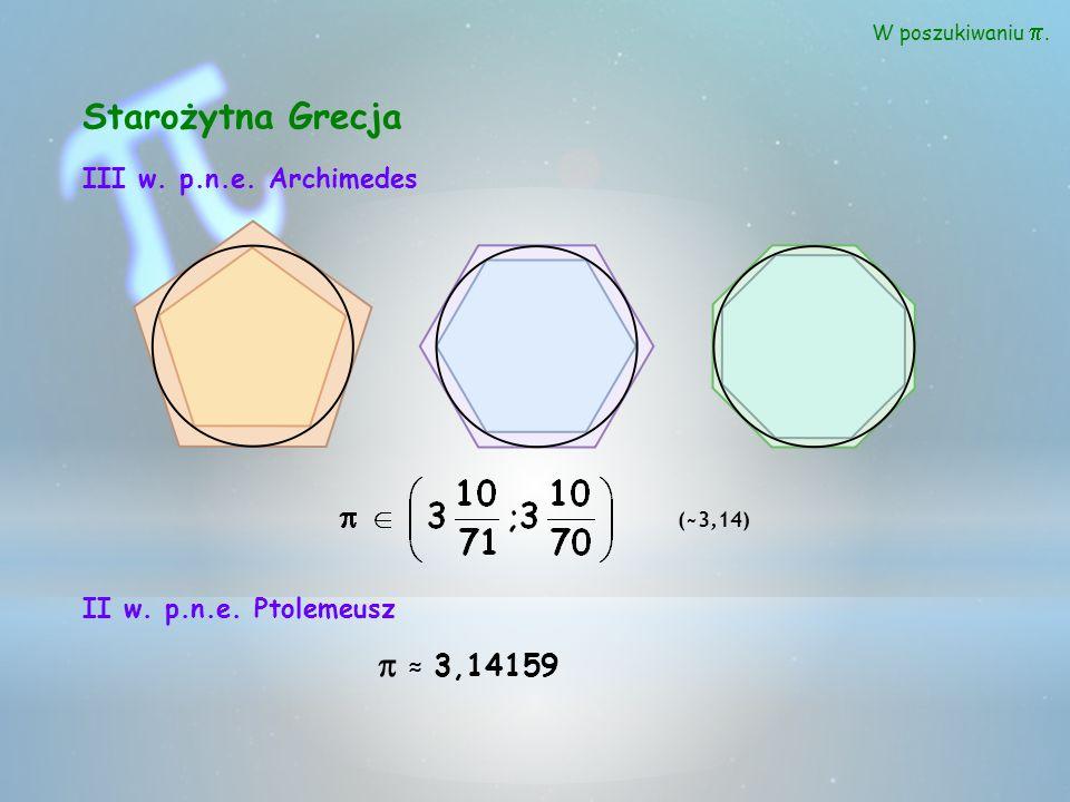 Starożytna Grecja p ≈ 3,14159 III w. p.n.e. Archimedes