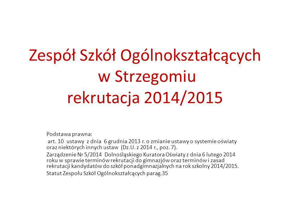 Zespół Szkół Ogólnokształcących w Strzegomiu rekrutacja 2014/2015