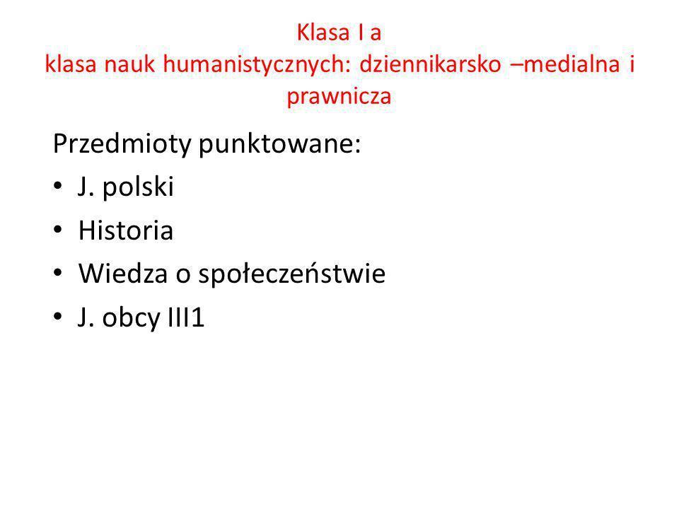Przedmioty punktowane: J. polski Historia Wiedza o społeczeństwie