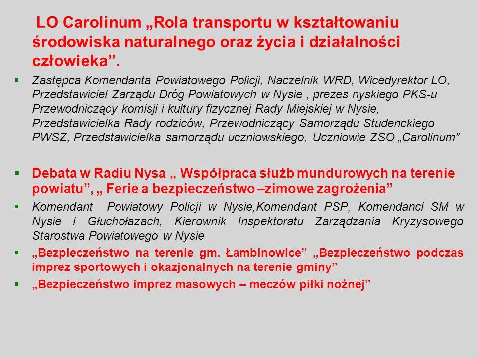 """LO Carolinum """"Rola transportu w kształtowaniu środowiska naturalnego oraz życia i działalności człowieka ."""