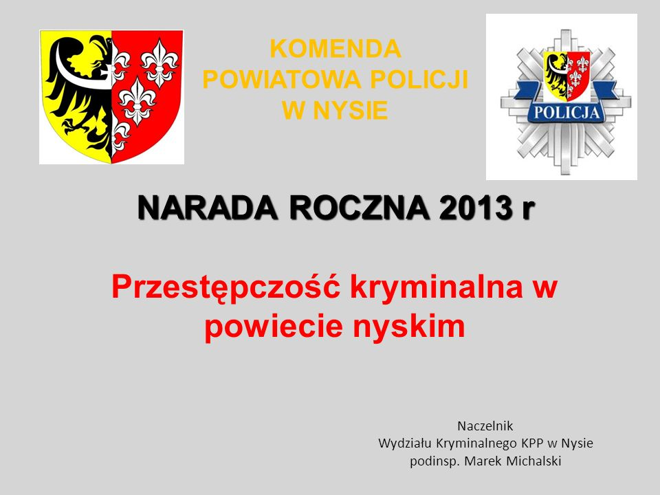 NARADA ROCZNA 2013 r Przestępczość kryminalna w powiecie nyskim
