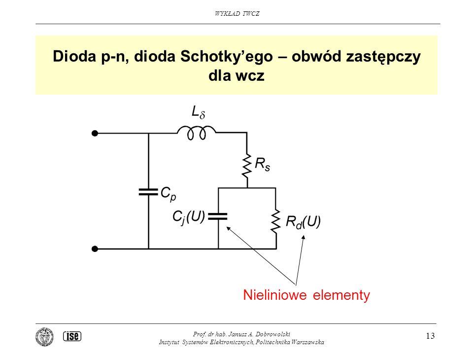 Dioda p-n, dioda Schotky'ego – obwód zastępczy dla wcz