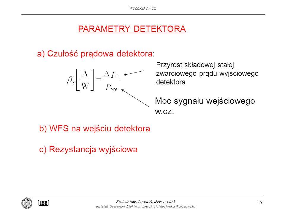 a) Czułość prądowa detektora: