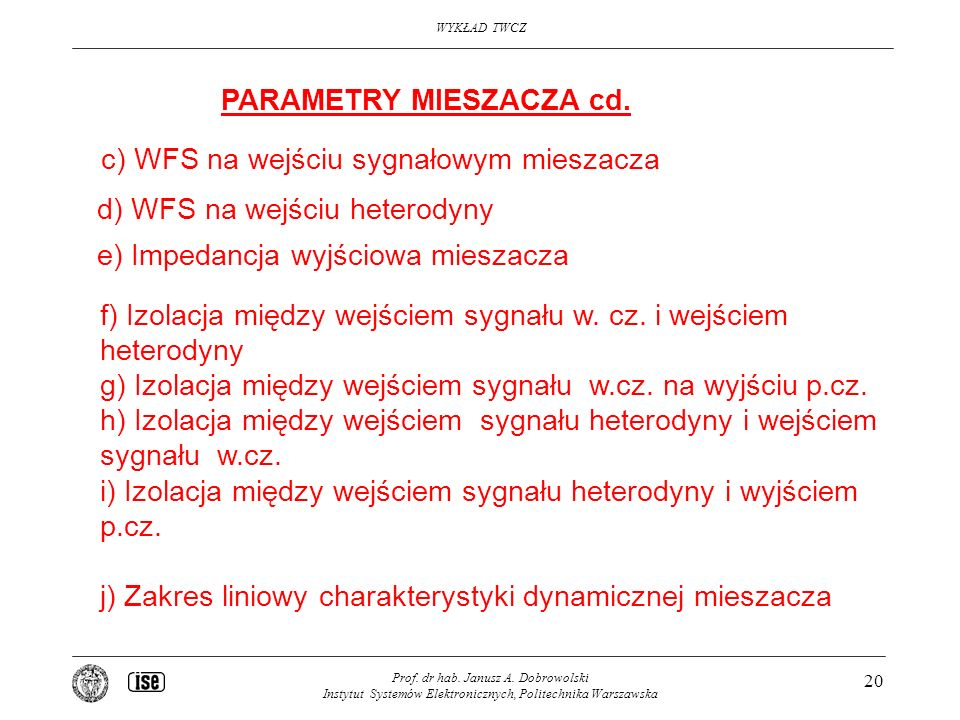 PARAMETRY MIESZACZA cd.