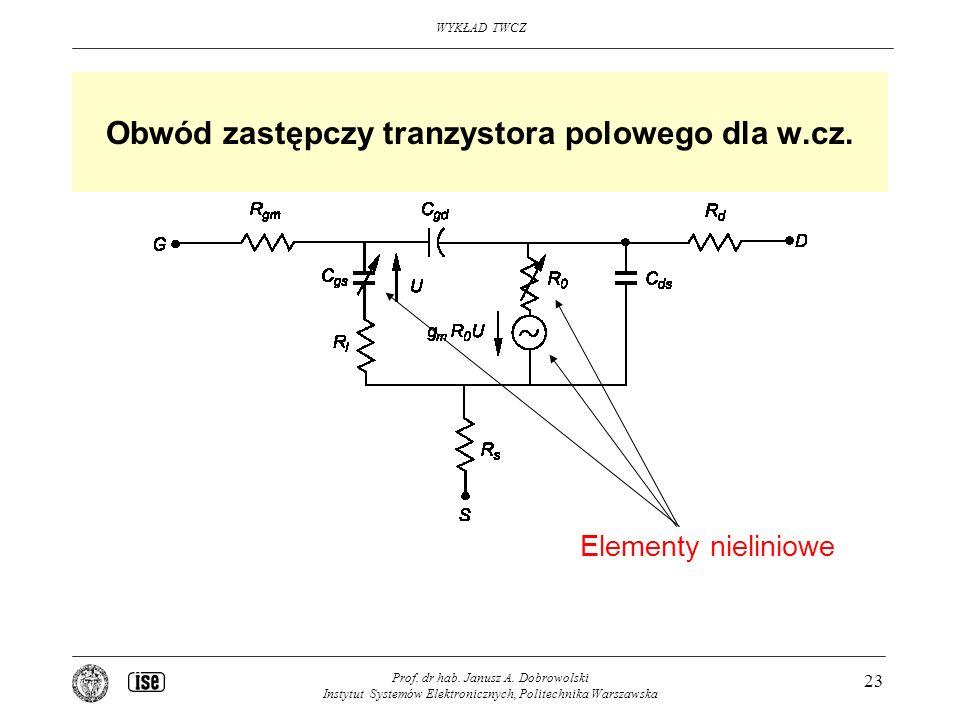 Obwód zastępczy tranzystora polowego dla w.cz.