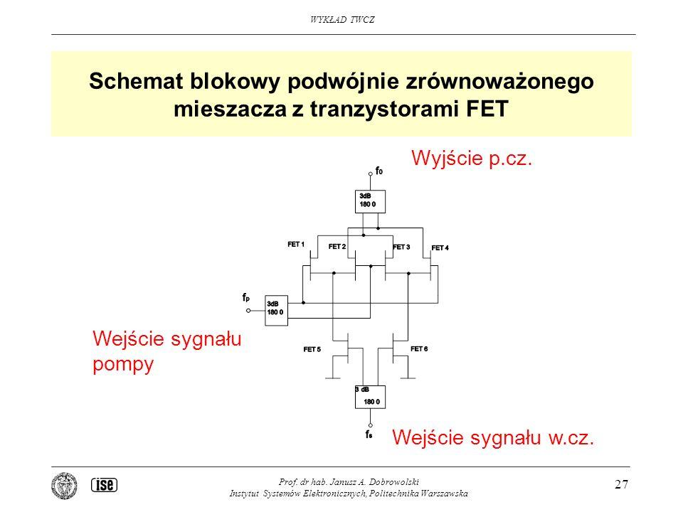 Schemat blokowy podwójnie zrównoważonego mieszacza z tranzystorami FET